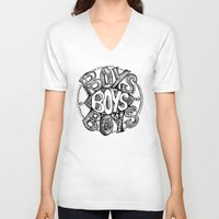 boys V-neck T-shirts featuring BOYS by Kelsey Walsh