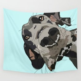 Great Dane in your face (teal) Wall Tapestry