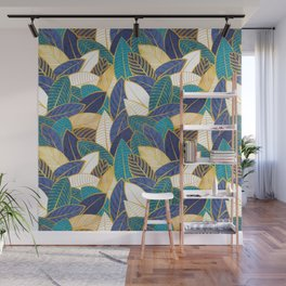Leaf wall // navy blue royal blue and teal leaves golden lines Wall Mural