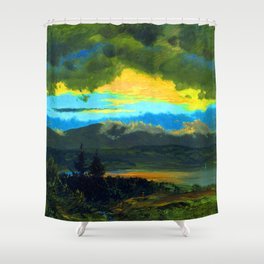 Frederic Edwin Church Sunset Across the Hudson Valley Shower Curtain