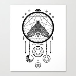 Wiccan and Pagan Moth Sacred Geometry Moon Dreamcatcher Canvas Print