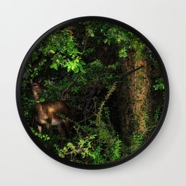 Doe in the bushes Wall Clock