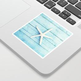 Starfish Beach Photography, Aqua Seashell Art, Coastal Nautical Photograph Sticker