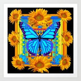Golden Sunflowers Blue Butterfly black Art Art Print