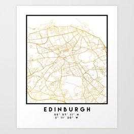 EDINBURGH SCOTLAND CITY STREET MAP ART Art Print