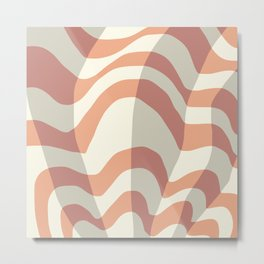 Geometric striped wave pattern Metal Print