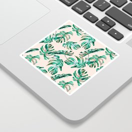 Tropical Palm Leaves Coral Greenery Sticker