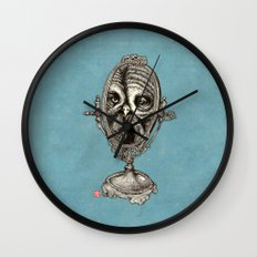 Owl Mirror Wall Clock