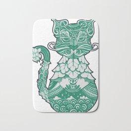 ornament decorative cat illustration Bath Mat