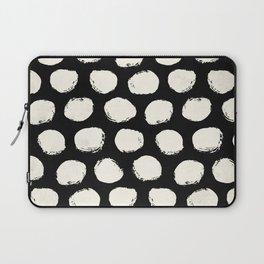 Trendy Cream Polka Dots on Black Laptop Sleeve
