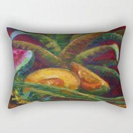 ARCHING BROMELIAD, WATER MELON, CANTALOUPES STILL LIFE Rectangular Pillow