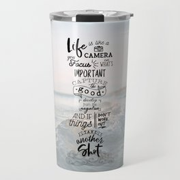 Life is Like a Camera Travel Photography Quote // Beach + Ocean Waves Background Travel Mug
