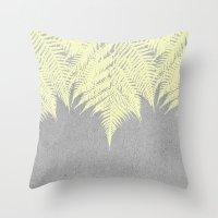 Concrete Fern Yellow Throw Pillow