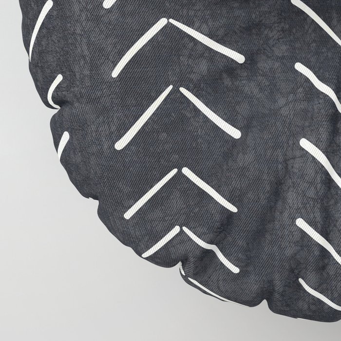 Mudcloth Big Arrows in Black and White Floor Pillow