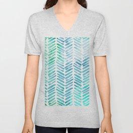 Handpainted Chevron pattern - light green and aqua - stripes Unisex V-Neck
