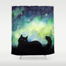 Galaxy Sky and Cat Silhouette Shower Curtain