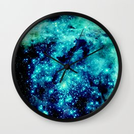 GALAXY. Teal Aqua Stars Wall Clock