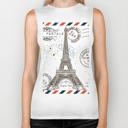 Art hand drawn design with Eifel tower. Old postcard style Biker Tank
