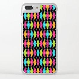 Rainbow Argyle Clear iPhone Case