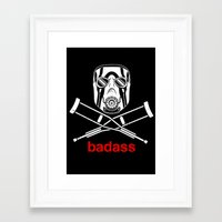 video game Framed Art Prints featuring Badass - The Video Game by adho1982