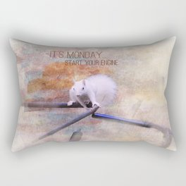 Lucky the White Squirrel It's Monday Start Your Engine Rectangular Pillow