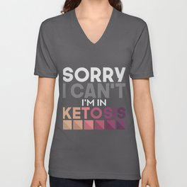 Keto Diet Ketosis Graphic Low Carb High Fat Ketogenic Diet Unisex V-Neck