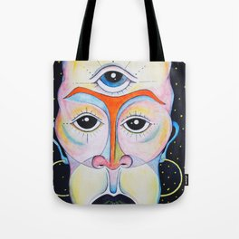 Third Eye Alien Geometric Painting Ascension Clairvoyant Channeled ARtwork Tote Bag