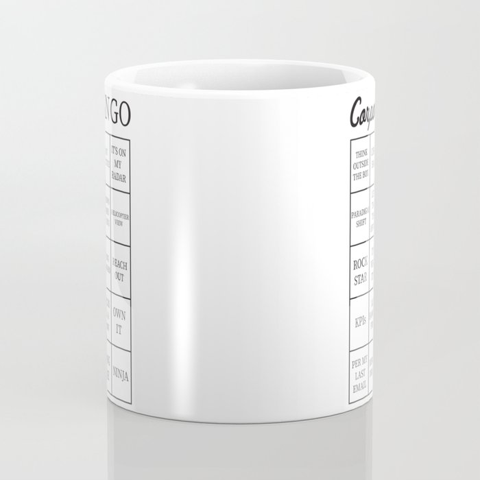 corporate jargon buzzword bingo card coffee mug by itsrturn