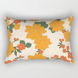 Flowers, Petals, Leaves, Blossoms - Orange Green Rectangular Pillow