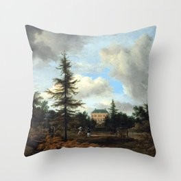 Jacob van Ruisdael Country House in a Park Throw Pillow