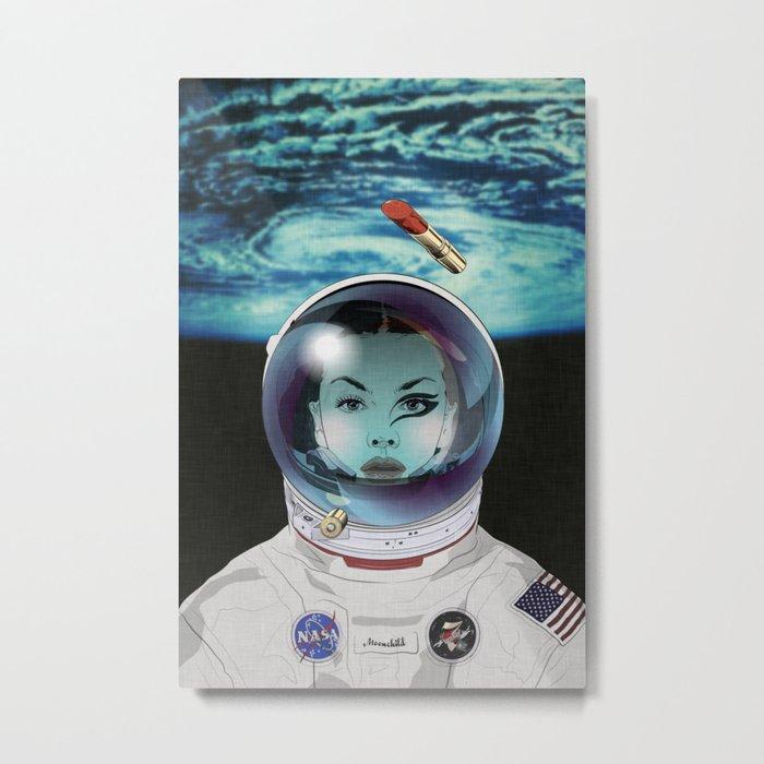 Miss Space Pilot Metal Print