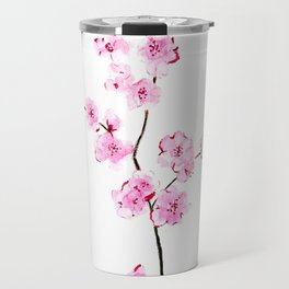 Pink cherry flowers painting, Floral Travel Mug