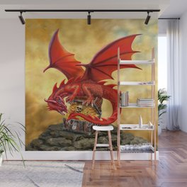 Red Dragon's Treasure Chest Wall Mural