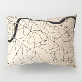 London Gold on Black Street Map II Pillow Sham