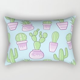 Potted Cactus Succulent Print (Blue) Rectangular Pillow