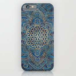 Flower of Life in Lotus Mandala - Blue Marble and Gold iPhone Case