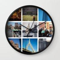 boston Wall Clocks featuring Boston by Jill Deering Creative