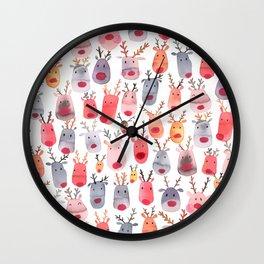 Christmas Winter Cute Reindeers Wall Clock