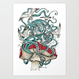 Flying the Agaric Art Print