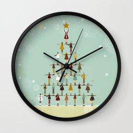 Christmas tree made of children Wall Clock