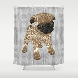 Adorable Pug Puppy Shower Curtain