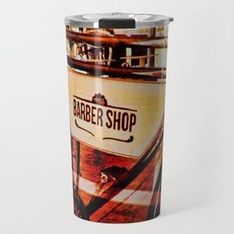 Barber shop vintage photograph of an antique bicycle Travel Mug