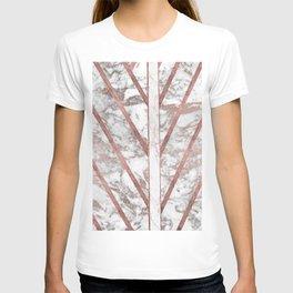 Modern faux rose gold white geometrical marble stripes T-shirt