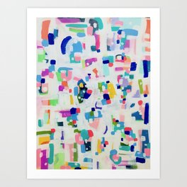 'Sunshine In The City' Fun colorful Abstract Acrylic Painting Shapes Pattern Modern Fun Pastel Spots by Ejaaz Haniff Art Print