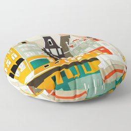 Amsterdam travel city shapes abstract Floor Pillow