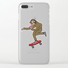 Skater Sloth Donut Clear iPhone Case
