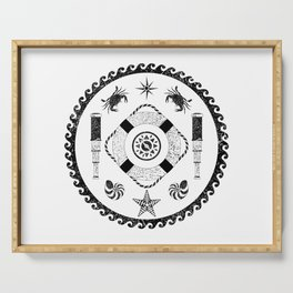 Nautical circle black and white poster Serving Tray