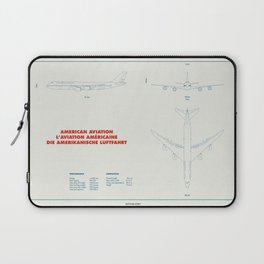 Boeing 747 plane technical drawing Laptop Sleeve