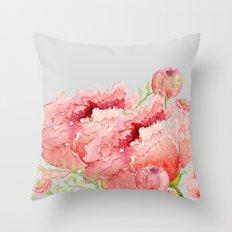 Pink peonies in blue jar Throw Pillow