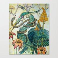 Heron and Garter Canvas Print
